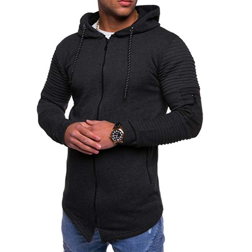 Winter Mens Pleated Hoodie Zip Up Coat Hooded Sweatshirt Hoody Jacket Outwear