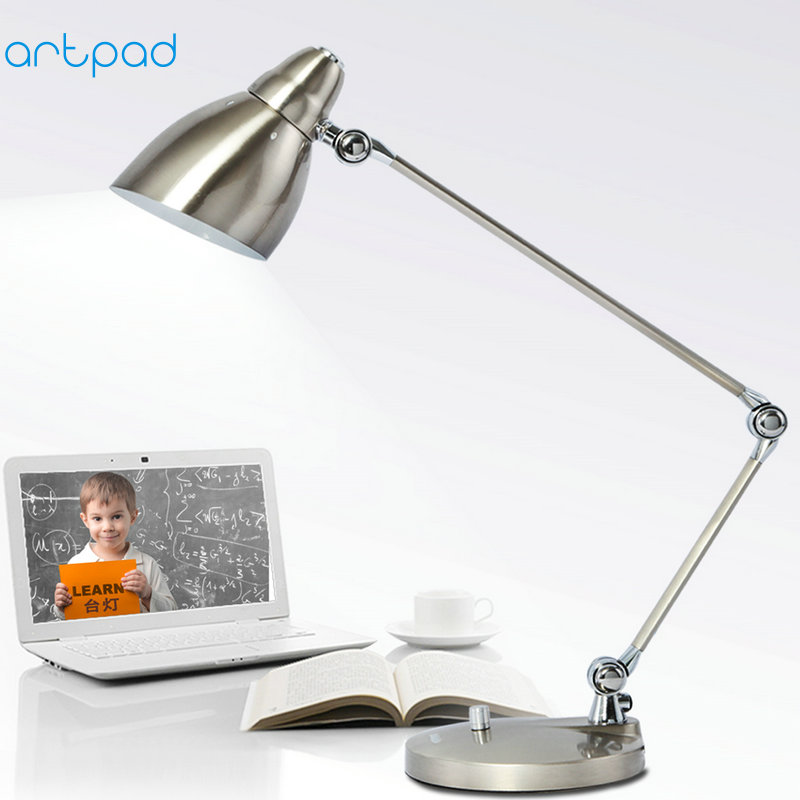 Artpad Design de mode moderne lampe de bureau d'affaires fer abat-jour lampes de Table flexibles pour bureau d'étude travail avec balançoire Long bras