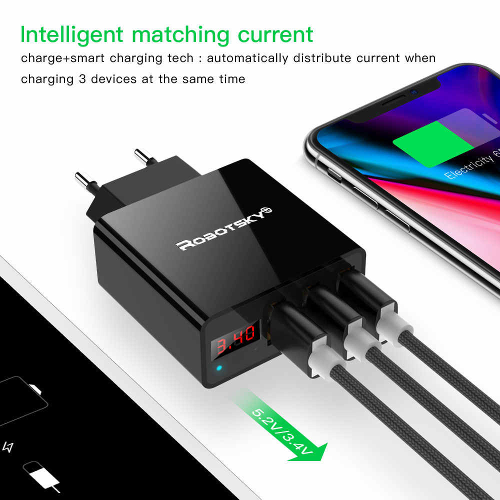 Обновление 3 порта Usb настенное зарядное устройство 3.4A светодиодный дисплей Универсальное зарядное устройство для путешествий адаптер для мобильного телефона Iphone Xiaomi IPad Us Eu Plug