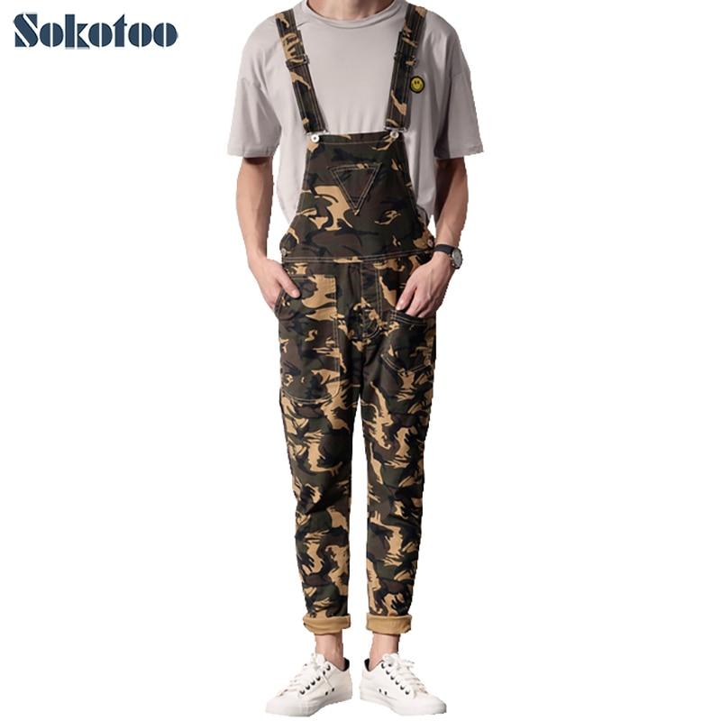 Sokotoo Men's fashion camouflage triangle denim bib overalls Casual slim suspenders jumpsuits Jeans sokotoo men s slim patch pocket denim bib overalls casual suspenders jumpsuits jeans