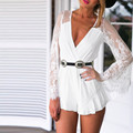 2017 Summer Sexy Women Deep V Neck Lace Elegant Jumpsuit Beach White Rompers Short Playsuit See Through Boho Overalls