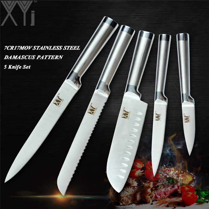 XYj New Design Stainless Steel Kitchen Knive Set 3-5 PCS Ultra Sharp Knife 440A Blade Labor Saving Handle Cooking Knife Set