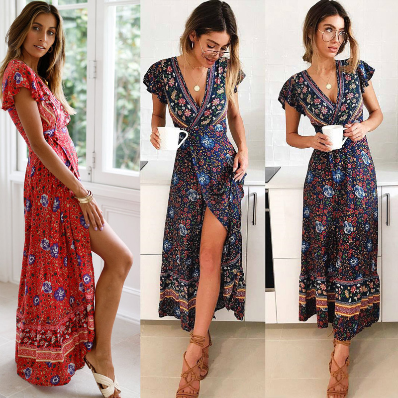 Vintage <font><b>Boho</b></font> Summer <font><b>Beach</b></font> <font><b>Print</b></font> <font><b>Floral</b></font> Long Maxi <font><b>Dress</b></font> Women <font><b>Sexy</b></font> <font><b>Short</b></font> Sleeve <font><b>V</b></font> Neck Party <font><b>Dress</b></font> Femme Vestidos image