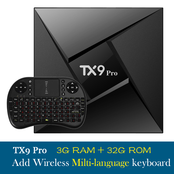 [Free Shipping]TX9 PRO 3G32G Amlogic S912 Octa Core Android 7.1 TV BOX Suport H.265 4K 2.4 GHz WiFi Mediaspeler IPTV Set Top Box