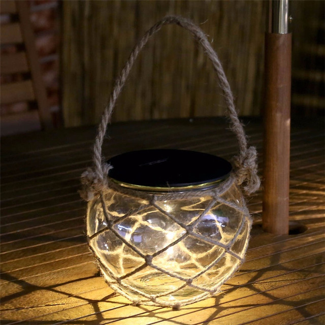 Thrisdar 1pc Mason Jar Solar Garden Candle Lamps Retro Lantern Ball Hanging Light With Rope Landscape Patio Pathway