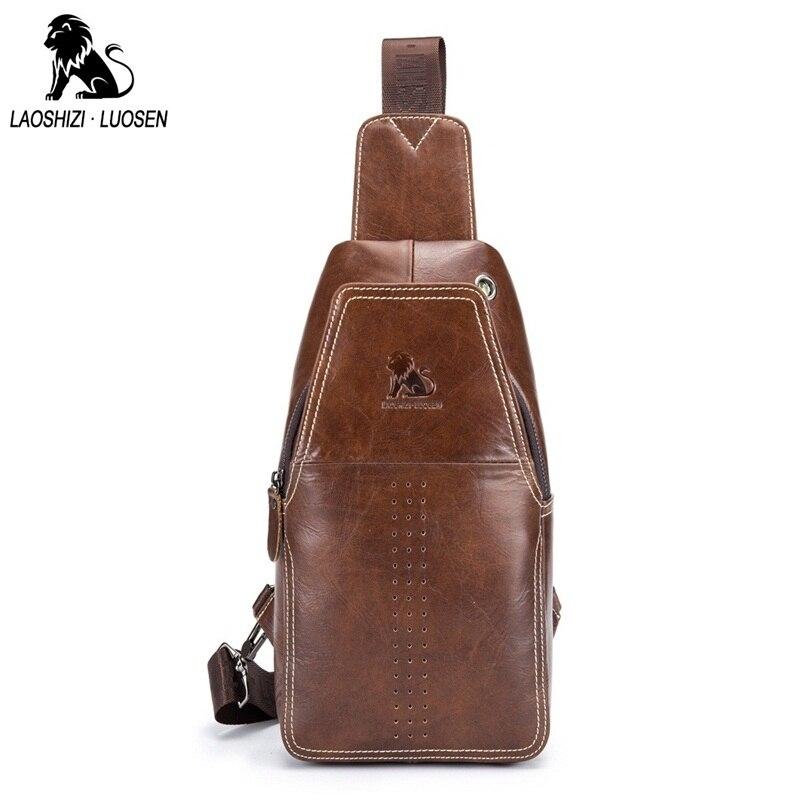 LAOSHIZI LUOSEN New Genuine Leather Men Shoulder Crossbody Bags Vintage Casual Chest Bags Male Travel Single Shoulder Strap Pack