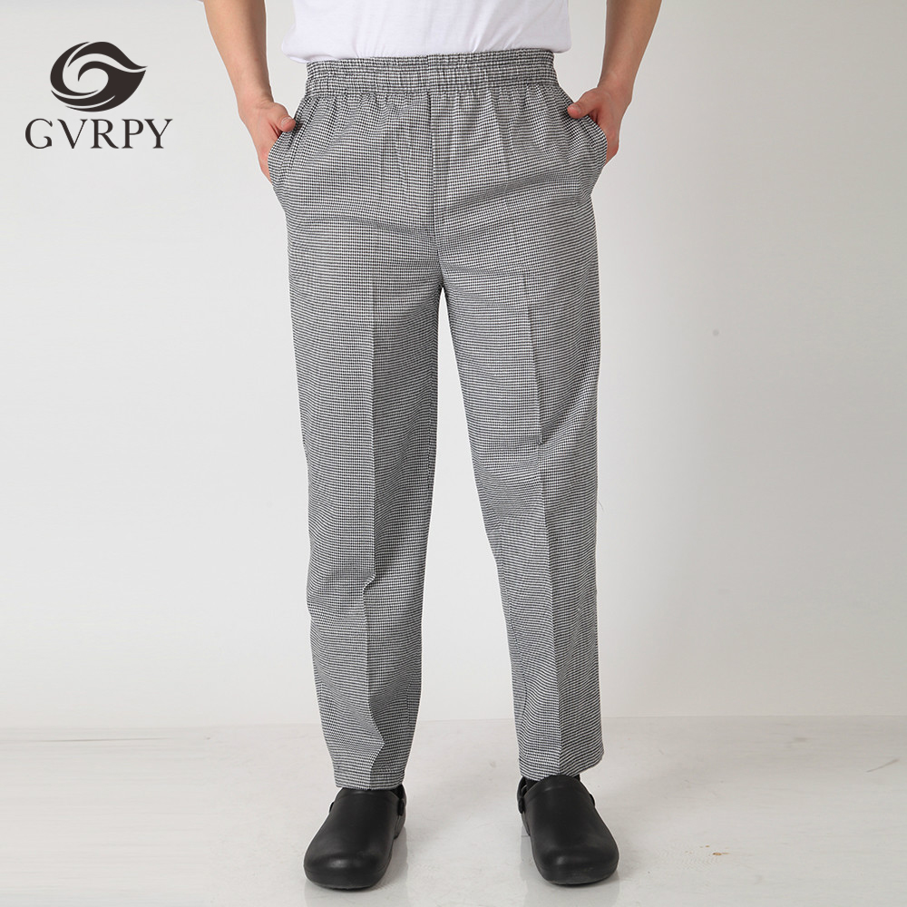 Men Stripe Chef Restaurant Kitchen Work Elastic Waistband Cozinha Hotel Food Service Working Pants Long Trousers With Pockets