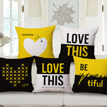 Fashion High Quality Couple LOVE Yellow Geometric Simplicity Car Decorative Throw Pillow Case Cushion Cover Sofa Home Decor