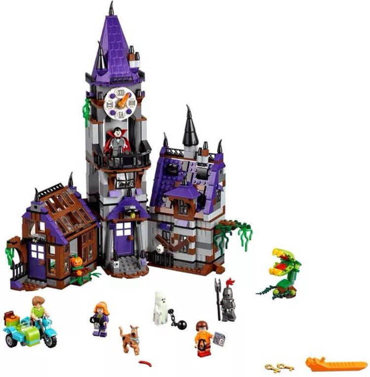 Pogo Compatible Legoe BELA 10432 Scooby Doo Mysterious Ghost House Building Blocks Bricks Toys 10432 scooby doo mysterious ghost house 860pcs building block toys compatible legoingly 75904 blocks for children gift