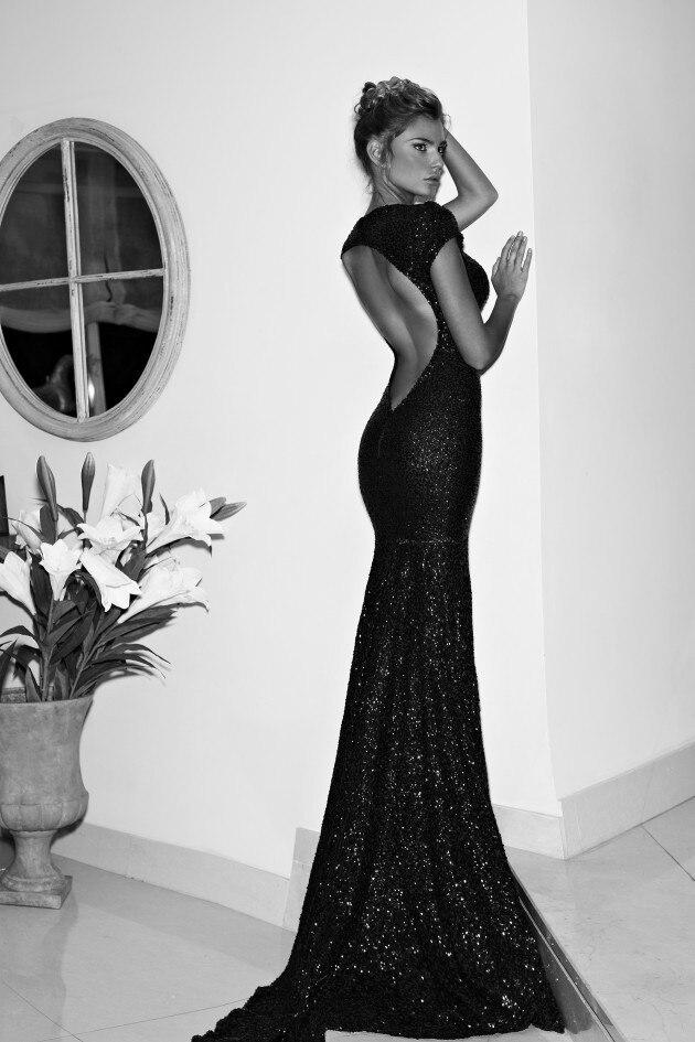 Black Lace Long Evening Dress Plain Simple Deep V Neck Short Sleeve ...