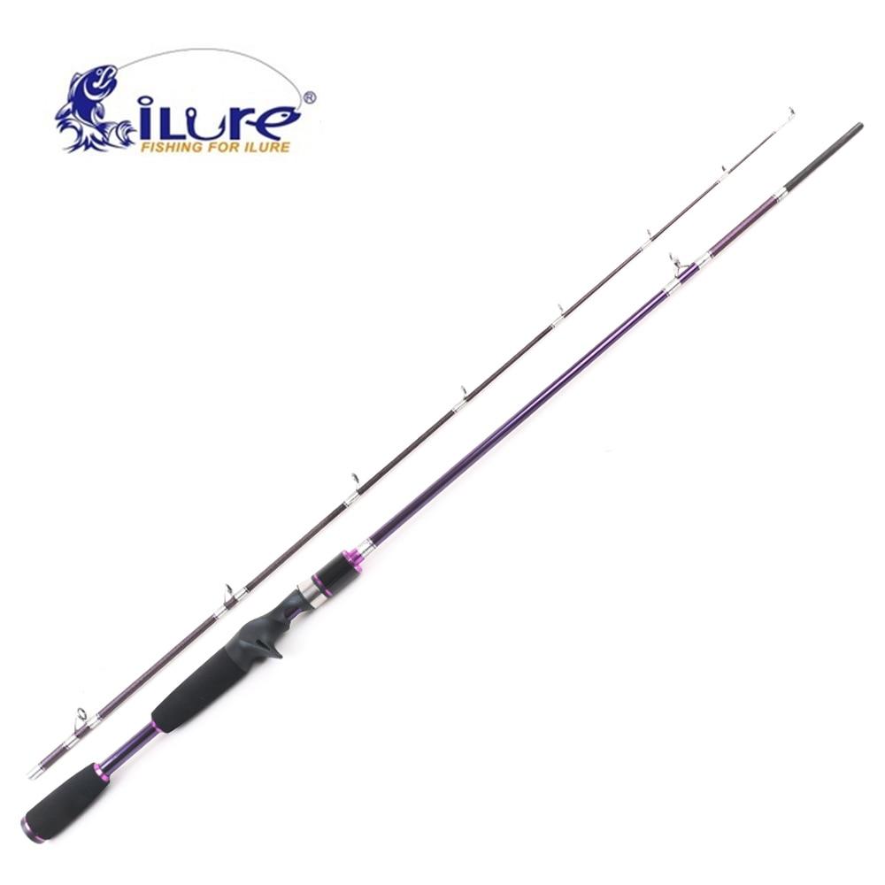 iLure Athena Carbon Fishing Rod 1.9M/120g 2 Section ML Yellow Purple Casting Fishing Rod