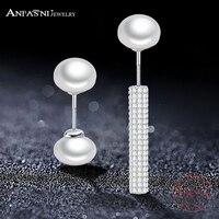 ANFASNI 100 Real 925 Sterling Silver Wedding Earring Jewelry Asymmetrical Luxury White Pearl Earrings Free Shipping