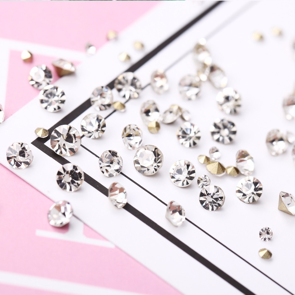 5kinds Drilling Jelly Color Rhinestones Flat Bottom Metal Studs Laser Rivet Beads Decor Manicure 3D Nail Art Decoration in Wheel in Rhinestones Decorations from Beauty Health