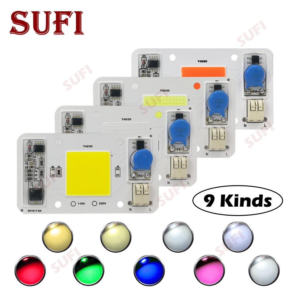 Smart IC 20W 30W 50W Warm Natural Cool White Red Green Blue Full Spectrum AC220V LED Bulb Chip Outdoor LED Grow Light Spotlight