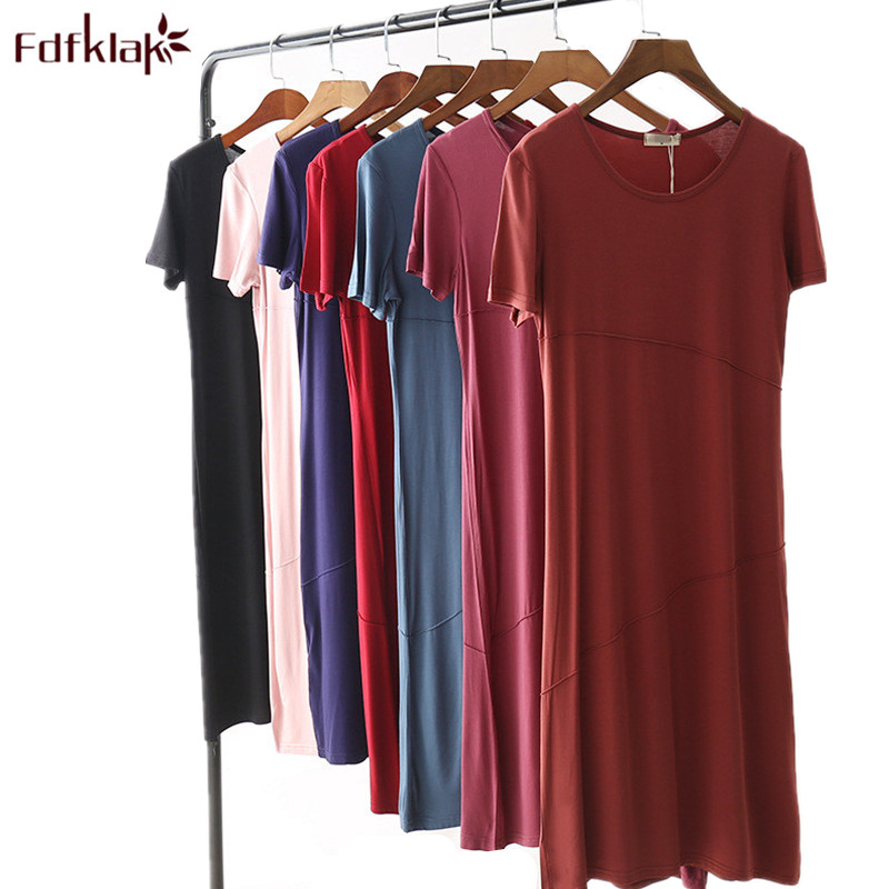 Fdfklak Women nightdress short sleeve cotton nightgown female sleepwear night dress large size loose nightshirt night gown