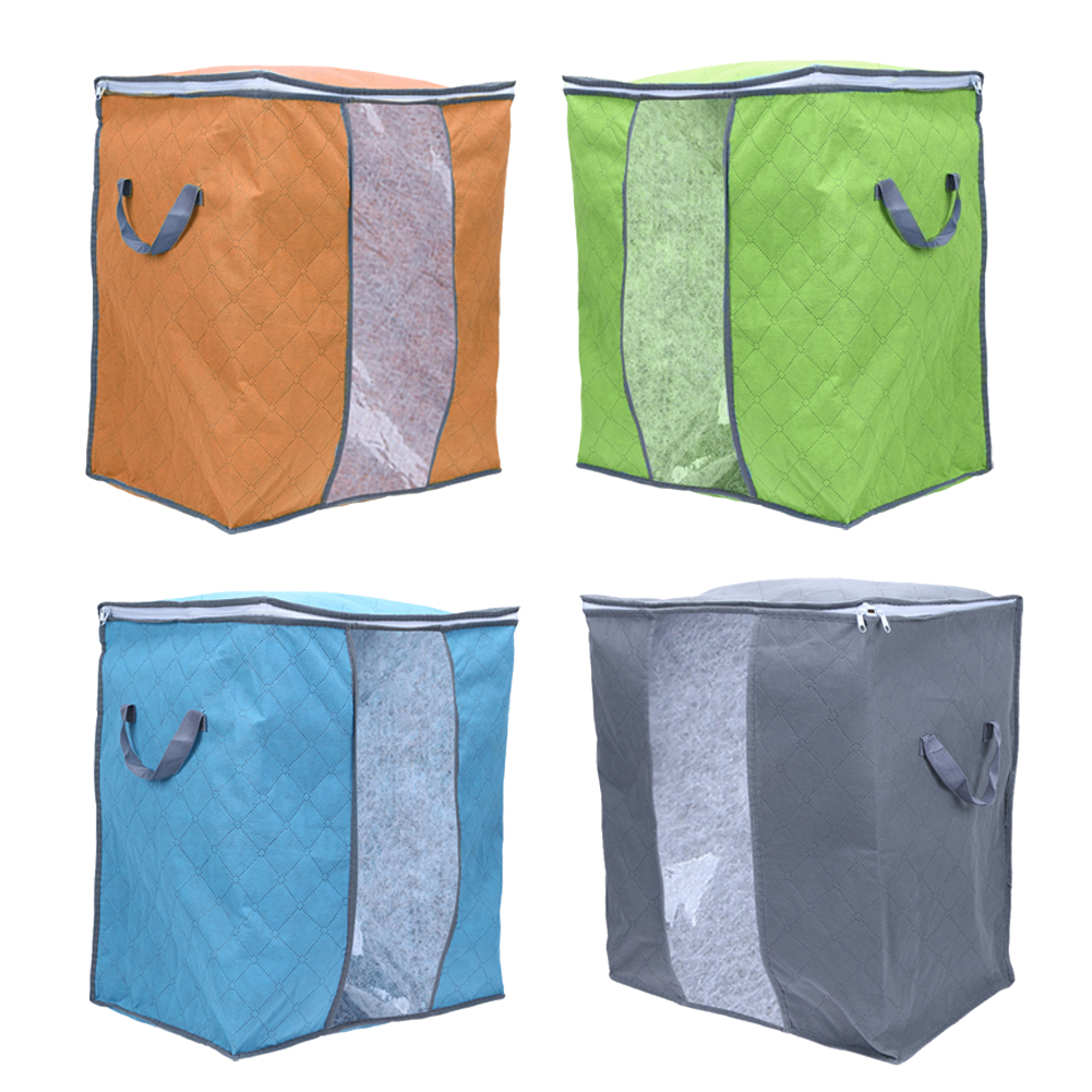 4 Colors Folding Bamboo Charcoal Clothes Quilt Sweater Blanket Closet Transparent Windows Storage Bags Case Box