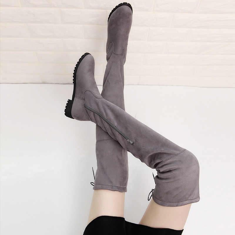เซ็กซี่ต้นขาสูงรองเท้าเข่าบู๊ทส์ขนสัตว์อุ่นภายในฤดูหนาวรองเท้าผู้หญิงรองเท้าหนังนิ่ม Bota Feminina สีดำ Botines Mujer 2019