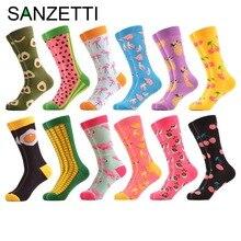 SANZETTI 12 pares / lote Colorido Hombres de Algodón Equipo Casual Calcetines Divertidos Aguacate Banana Flamencos Patrón Novedad Streetwear