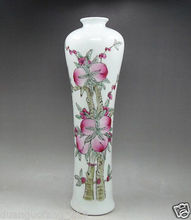 12.5 inch chinese collectibles old Handwork Porcelain Painting Peach Flower Vase