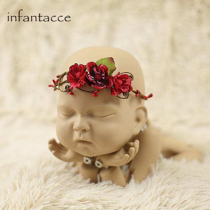Red Handmade Newborn Baby Headband Newborn Headband Fake Flower