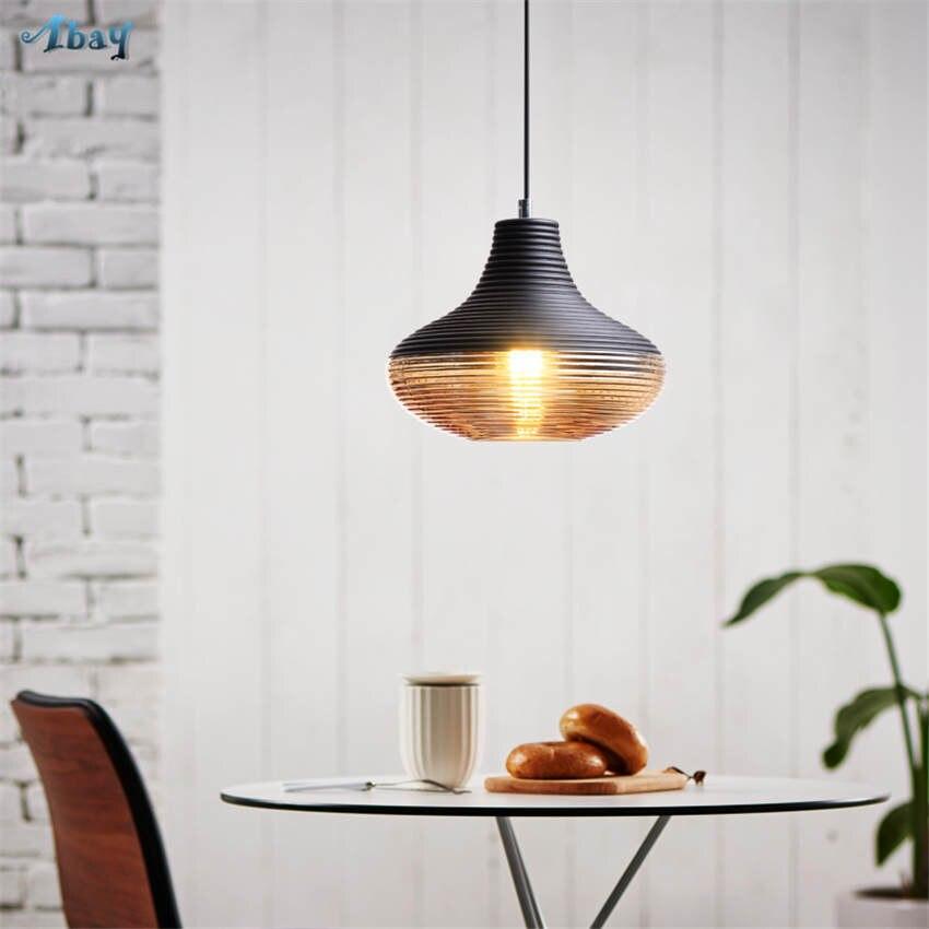 American vintage vis fil teinté verre pendentif lumières pour salon bar art déco salle à manger luminaires led accrocher lampe - 4