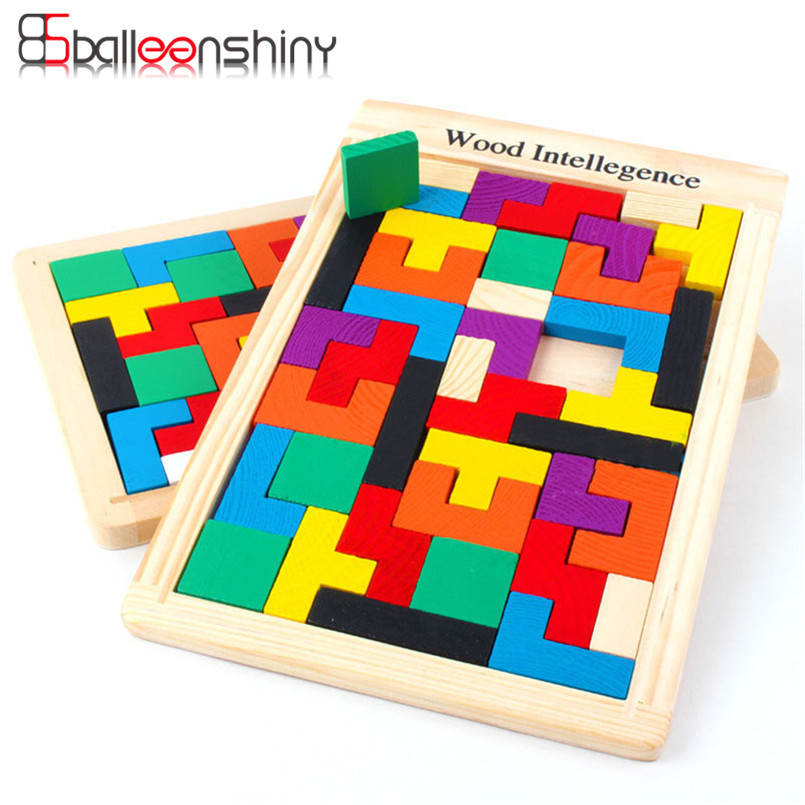 BalleenShiny Wooden Tetris Toy For Children Early Educational DIY Puzzle Intelligence Teaser Jigsaw Board Gift For Baby Kid airplane 3d jigsaw laser cutting model puzzle educational diy toy
