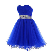 Королевского синего цвета, Короткие платье для возлюбленной для встречи выпускников шеи Ruched Тюль Кристаллы бисером талии на шнуровке Назад