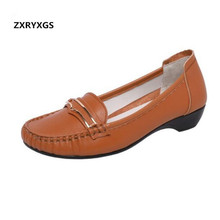 2019 Newest Round Head Shallow Mouth Spring Shoes Woman Genuine Leather