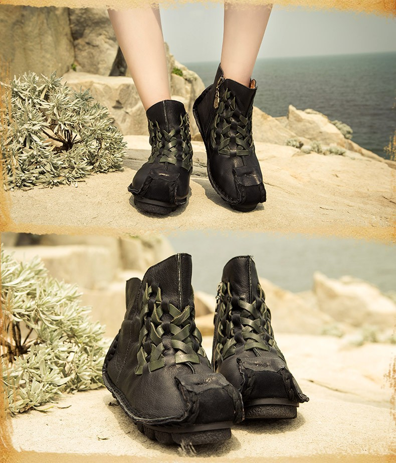 e23f75b251afb Handmade genuine leather boots personalized unique flat ankle boots ...