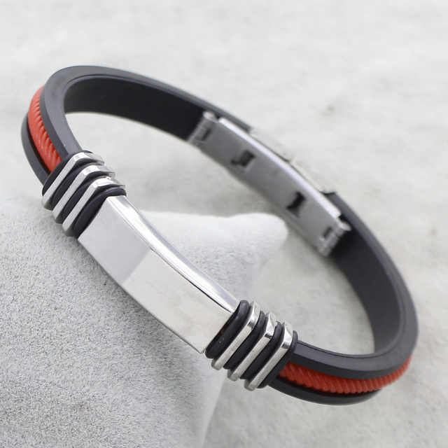 0e5cfd1cb8ba7 19CM Red Line Black Silicone Bracelets Bangles Steel Color ID Charm  Stainless Steel Jewelry Bracelet Fashion
