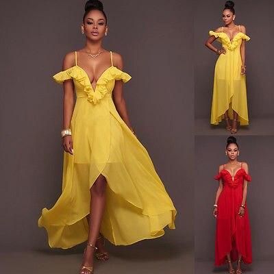 Для женщин Вечерние платья Длинные Вечеринка бальное платье шифоновое платье красный желтый костюм летние пикантные