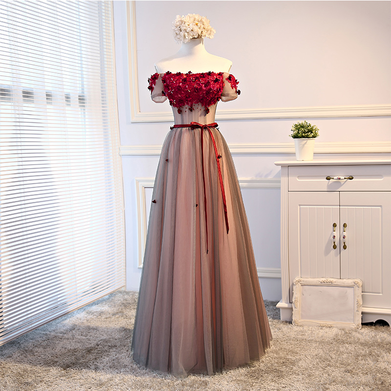 High Quality Wedding Guest Dress A-Line Short Sleeves Boat Neck Tule Flowers Beading Off The Shoulder Bridesmaid Dresses