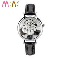 2017 Brand Mini 3D Cat Women Watches Waterproof Leather Quartz Wrist Watch Fashion Ladies Watches Clock Hours Relogio Feminino