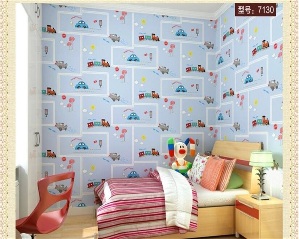 beibehang Non woven wallpaper childrens room cartoon car boy bedroom striped children wallpaper papel de parede papier peint