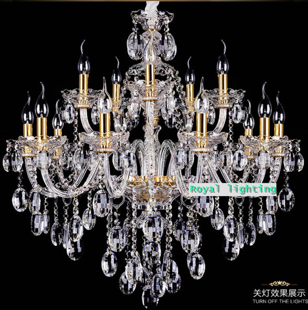 Italy antique gold candle chandelier led crystal light hotel villa parlor  lampe droplight home clear crystal - Italy Antique Gold Candle Chandelier Led Crystal Light Hotel Villa