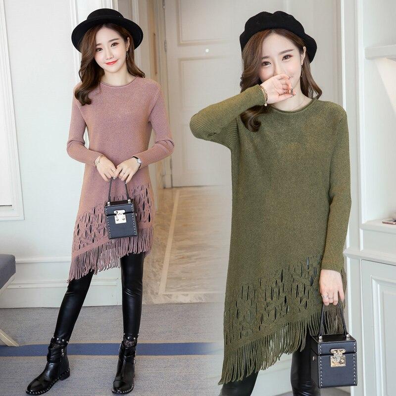 3e0e9d27d1e0c Pengpious Korean style long design pregnant women sweater irregular tassel  hem maternity knitted dress fashion pregnancy tunic-in Pullovers from  Mother ...