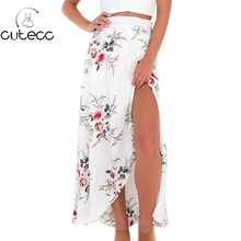 2017 new summer women feminina blusas bohemian style sexy asymmetrical hem split floral print ankle-length skirts with sash