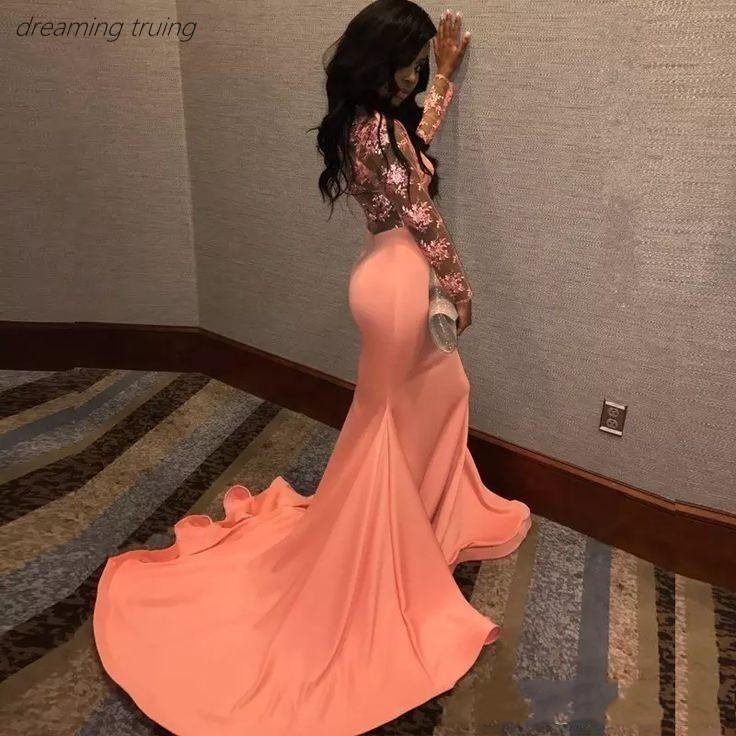 2019 South African Vestidos Sexy Mermaid Long Satin Dubai Appliques   Prom     Dresses   Black Girls Formal Party Evening   Dresses
