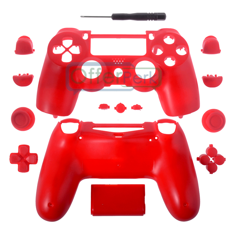 #P4M03 For PS4 Controller Game Design Full Shell Case Buttons Repair Custom Case Solid Red JDM-010 JDM-020