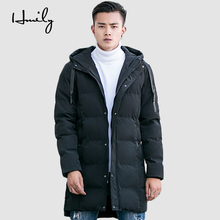 HMILY Mens Winter Jacket hooded warm high-quality outerwear Medium-Long Thickening Coats Men For