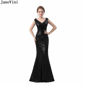JaneVini Elegant Long Black Sequined Mother of The Bride Dresses V Neck Sexy Illusion Back Mermaid Evening Gowns Floor Length
