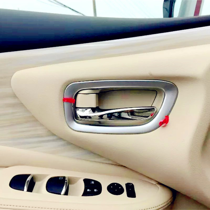 Bbincar 4pcs Matte Chrome Car Interior Door Handles Bowl Cup Cover Molding Trim Decoration For Nissan Murano 2015 2016