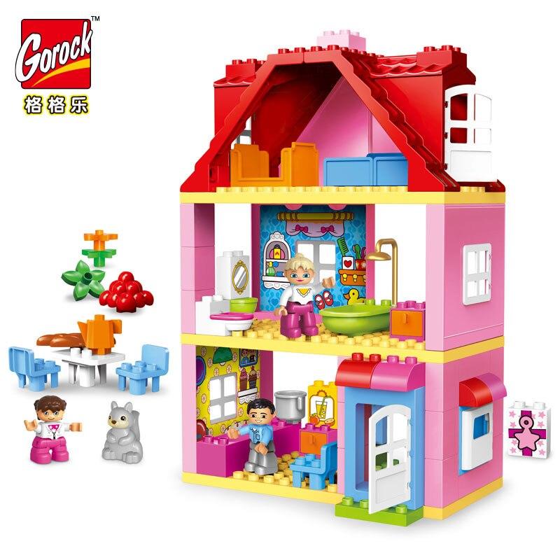 Gorock 78 unids gran tamaño rosa villa Niñas gran edificio Blocs set niños DIY ladrillos modelo Juguetes para niños compatible con duploe