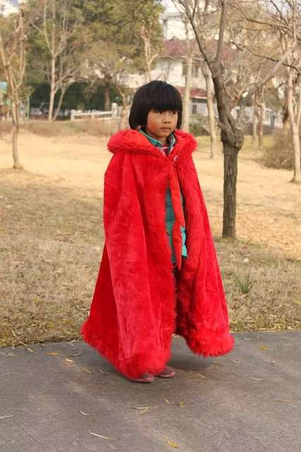 53dba82be8f Hooded Long Floor Length Cape RED White Wedding Cloaks Faux Fur Jacket For  Winter Kid Flower