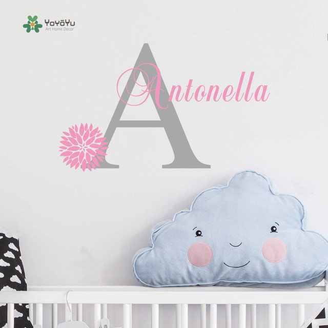 Personalized Flowers Name Wall Decal Girls Kids Room Decor  Nursery Wall  Decals Vinyl Sticker For
