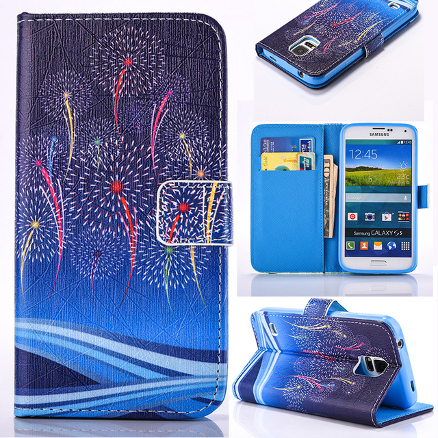 PU Leather Flip Phone Cases Cover For Samsung Galaxy S5 I9600 G900F G900I G900M G900A G900T  G900K/G900L/G900S SV  G900 5.1 inch