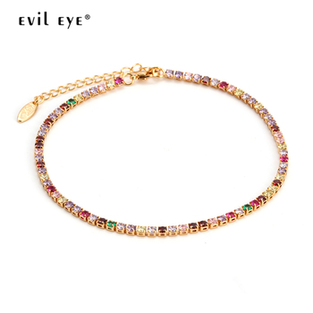 Evil Eye Anklet Feet Bracelet Gold Color Leg Ankle Chain for Women Colorful Micro Pave Zircon Summer Fashion foot Jewelry EY6317