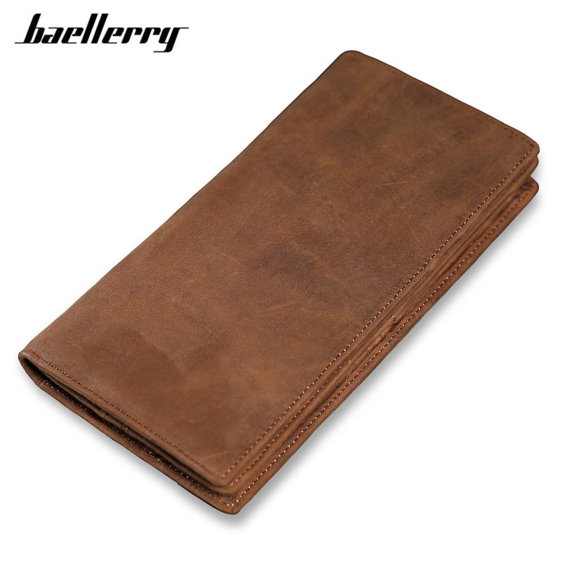 Vintage Leather Men Long Wallet Crazy Horse Genuine Leather Men's Wallets Large Capacity Credit Card Coin Purses For Office Bag crazy horse leather men wallet slim vintage genuine leather long purse cowhide bifold wallets with coin pocket and card holders