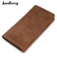 Vintage Leather Men Long Wallet Crazy Horse Genuine Leather Men S Wallets Large Capacity Credit Card