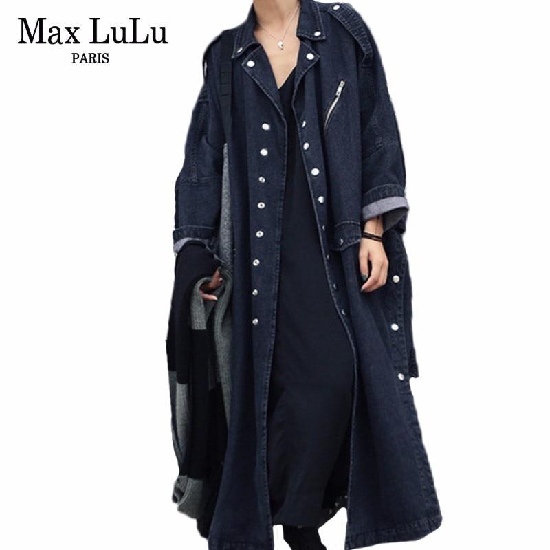 Max LuLu 2019 Autumn Fashion Korean Streetwear Ladies Casual Black Long Coat Womens Denim Trench Punk Jean Windbreaker Plus Size